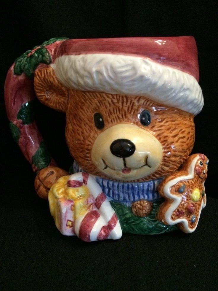 Teddy Bear Mug Cup 3D Figural Christmas Holiday Hand Painted | eBay