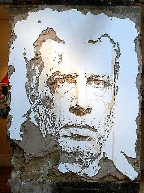 street art..portrait in decaying wall by alexandre farto http://restreet.altervista.org/la-tecnica-esplosiva-di-vhils/