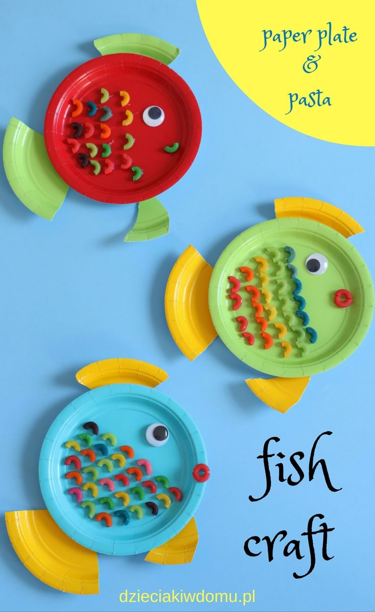 Paper plate animal crafts - Paper Plate Pasta Fish Craft