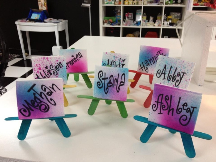 Great Place Cards for an art theme Bar Bat Mitzvah by Tied With A Bow