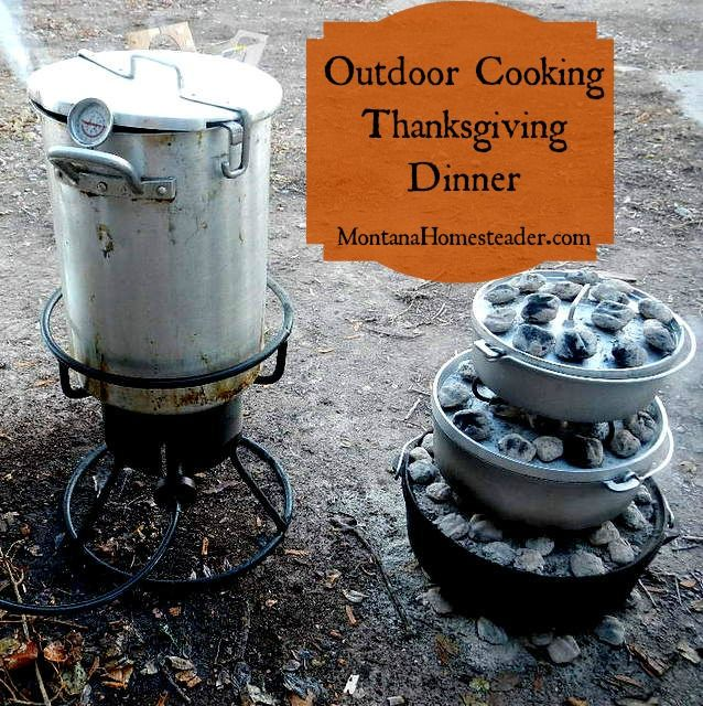 Challenge yourself to cook part or all of your Thanksgiving dinner outdoors and off grid! We've done outdoor cooking in cast iron dutch ovens for years and you can too  | Montana Homesteader