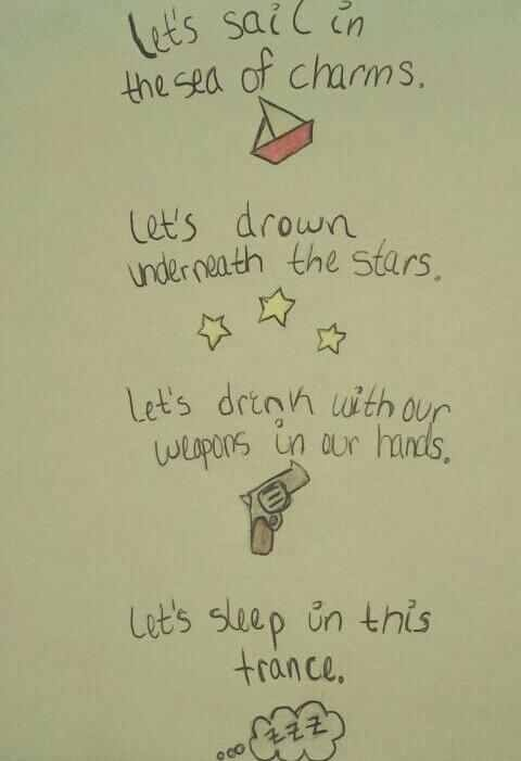 "I love the way the lyrics are drawn up for this Deftones song: Rocket Skates ""Guns! Razors! Knives!"""