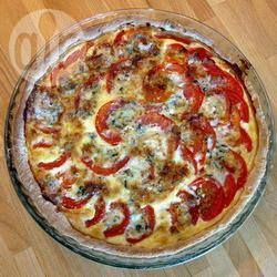 Photo recette : Quiche tomate mozzarella basilic