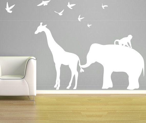 Elephant Giraffe Wall Decal - Zoo Line Safari Jungle Silhouette - Vinyl Wall Art Room Decor - Children's Bedroom Nursery - CA112C