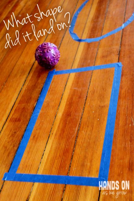 Easy game for children to learn shapes. Could also chart which shape is landed on the most. This game would cover so many skills: counting, gross motor, taking turns, etc. could be played inside or out.