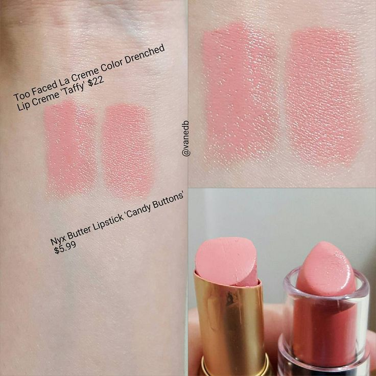 NYX Butter Lipstick in Candy Buttons - dupe for Too Faced La Creme Lip Creme in Taffy