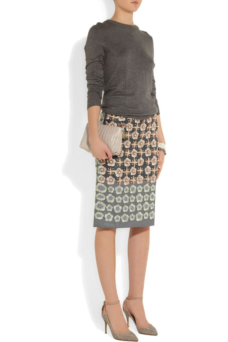 Biyan's canvas skirt fuses embroidery and jewel-like embellishment to stunning effect. Make the floral pastel threadwork and crystals pop with a gray sweater and neutral shoes