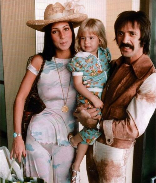 Sonny, Cher, and Chastity Bono, 1970s.