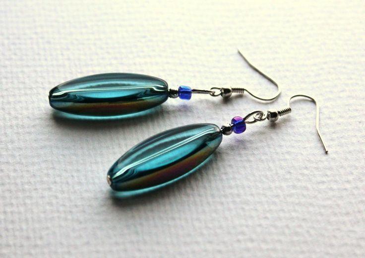 """Kolczyki """"Blue Sky"""" w Especially for You! na http://pl.dawanda.com/shop/slicznieilirycznie  #kolczyki #earrings  #handmade #DaWanda #szkło #glass"""
