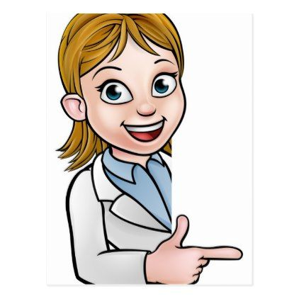 Scientist Cartoon Character Pointing at Sign Postcard - postcard post card postcards unique diy cyo customize personalize