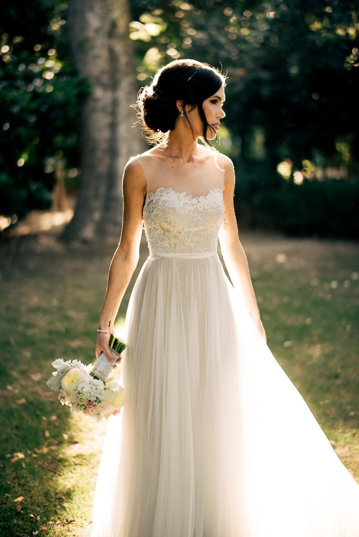Unique Wedding Ideas: Romantic Open Back Tulle and Lace Wedding Dress
