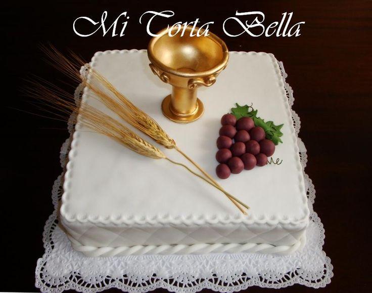 Torta fantasía de Primera Comunión de 2 pisos 30 y 20 cm. con punto perdido      Torta de Comunión cuadrada 30 x 30 cm.      Torta de Co...