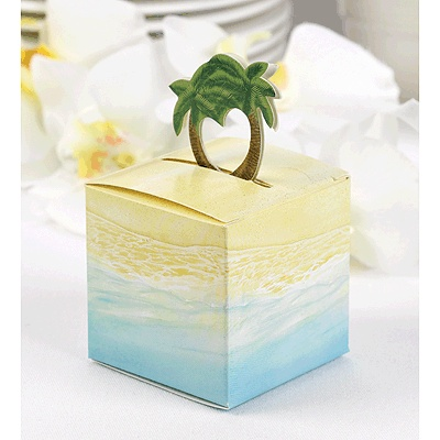 Favor Bo With Beach Ilration And Pop Up Palm Tree Accent 2 X