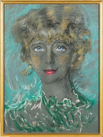 Artwork by Stanislaw Ignacy Witkiewicz, Woman's portrait, Made of pastel, paper