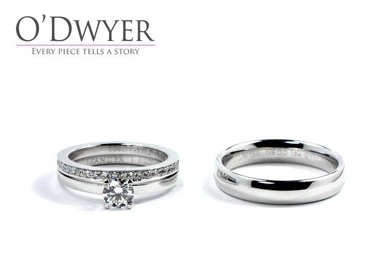 Wedding Rings - 18ct white gold rings with diamonds. Förlovningsring Vigselring