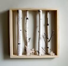 woodland nursery birch shadow box