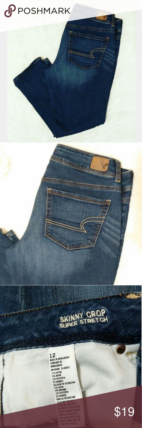 American Eagle Skinny Crop Jeans Like New! American Eagle Skinny Crop Super Stretch Jeans. These quality made crop length jeans will be your new favorites!  Please feel free to ask any questions you may have :) As always, I ship within 24 hours!! American Eagle Outfitters Jeans Ankle & Cropped