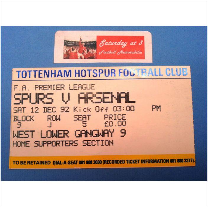 Tottenham Hotspur v Arsenal Football Ticket Stub 12/12/1992 Premiership League