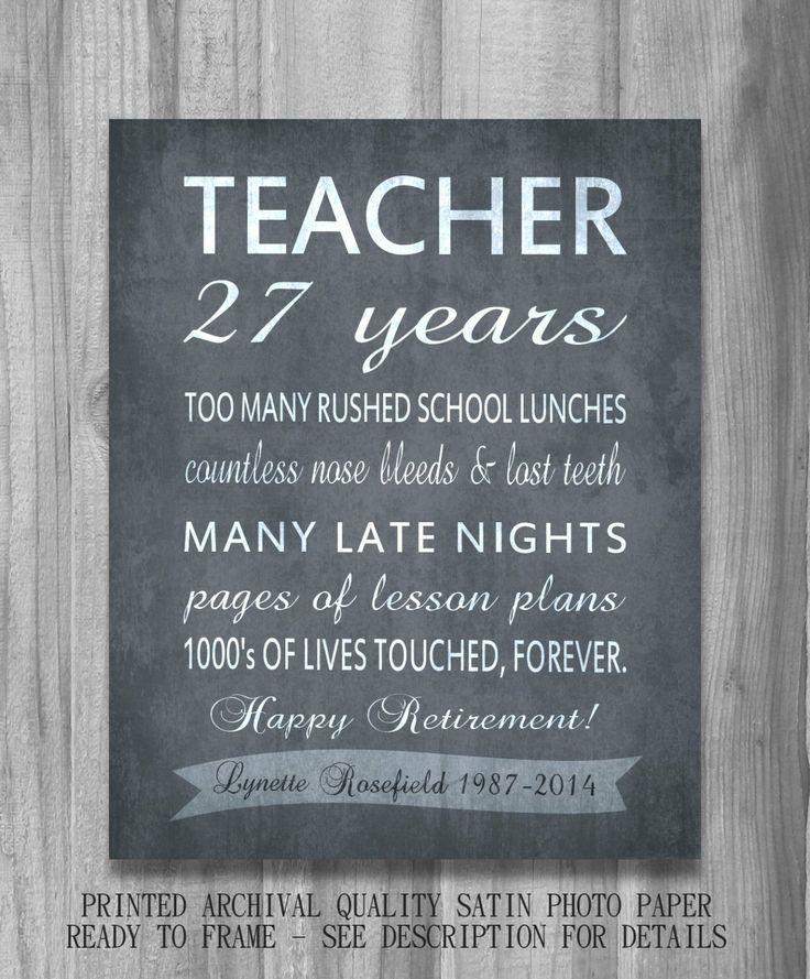 Teacher RETIREMENT Gift Personalized Inpirational Print Unique