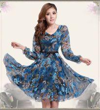 2014 New Summer Fashion China Wind Womens Elegant Printed Chiffon Beach Dress