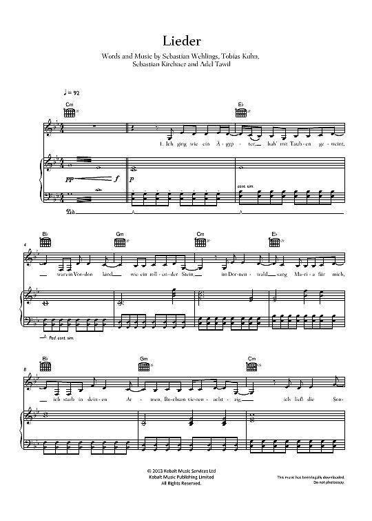 Lieder Adel Tawil >>> KLICK auf die Noten um Reinzuhören <<<