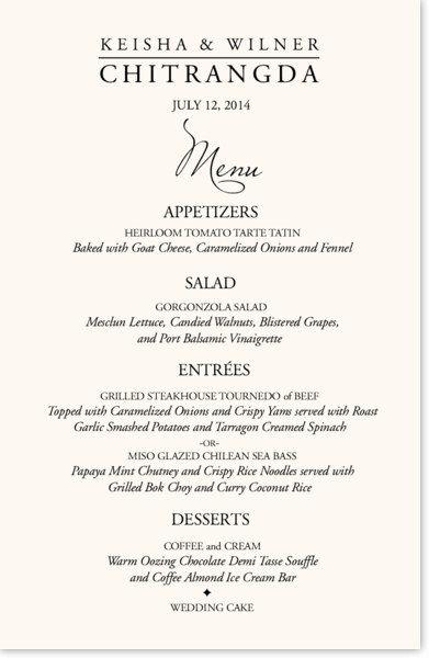The Garamond Menu Card Is Custom Designed For A Wedding Reception Dinner With Wording