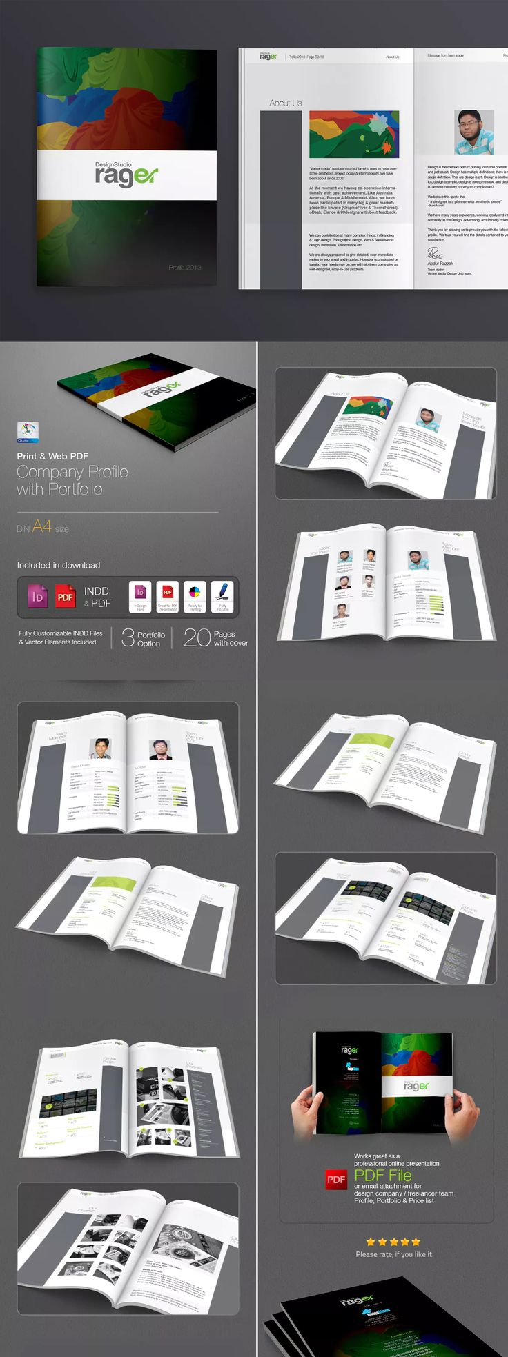 Company Profile with Portfolio Booklet Template InDesign INDD - A4