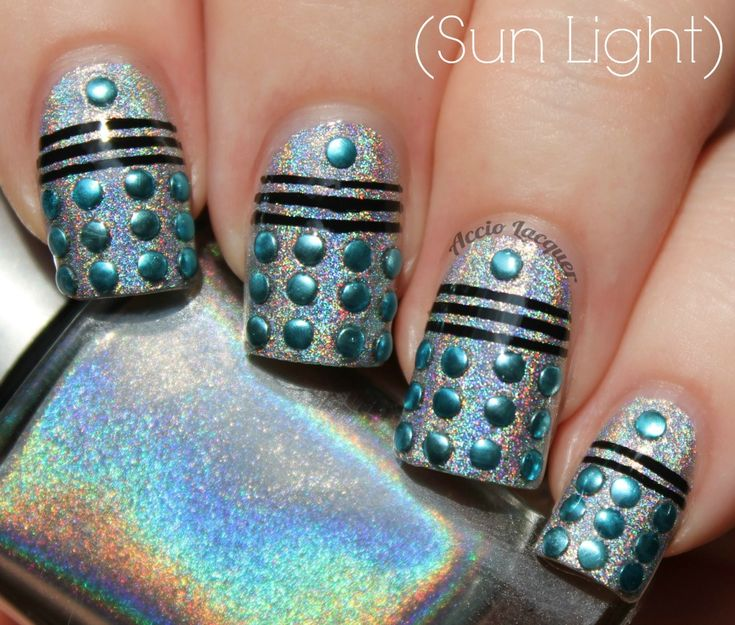 holo Daleks! See, this is why I need holo polish! (Also has the name of a $10 brand that totally looks like the Chanel one that goes for $300 on eBay!)