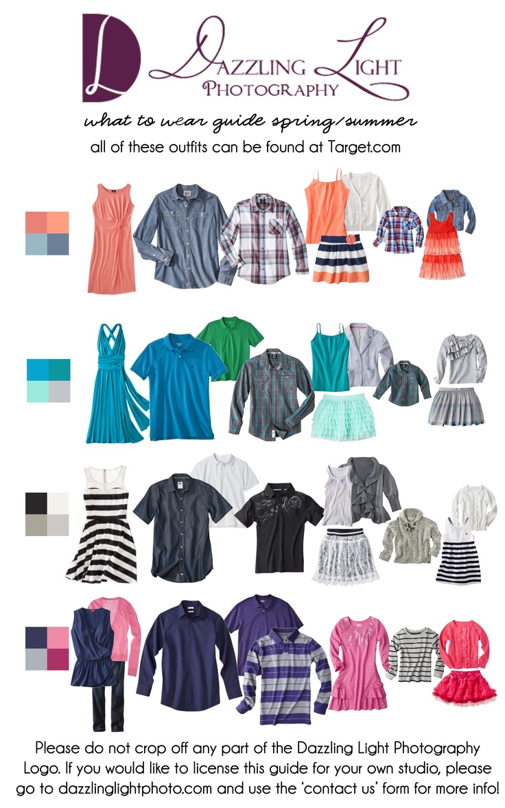"Lots of great and affordable ideas to coordinate without being too ""matchy"" All were found at target.com For more tips and info on what to wear for your portrait session, contact us! info@dazzlinglightphoto.com @DazzlingLightPhoto"