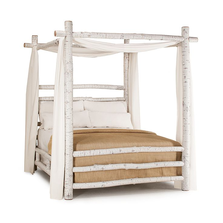 Rustic Canopy Bed #4090 in Antique White finish by La Lune Collection