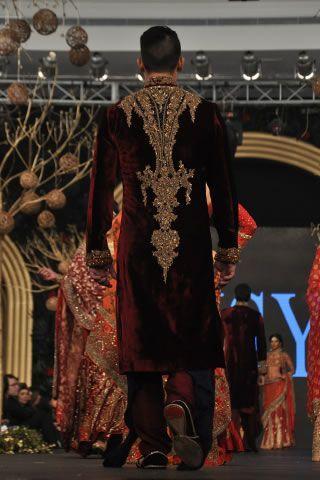 Maroon velvet sherwani by HSY at PFDC L'Oreal Paris Bridal Week 2013:
