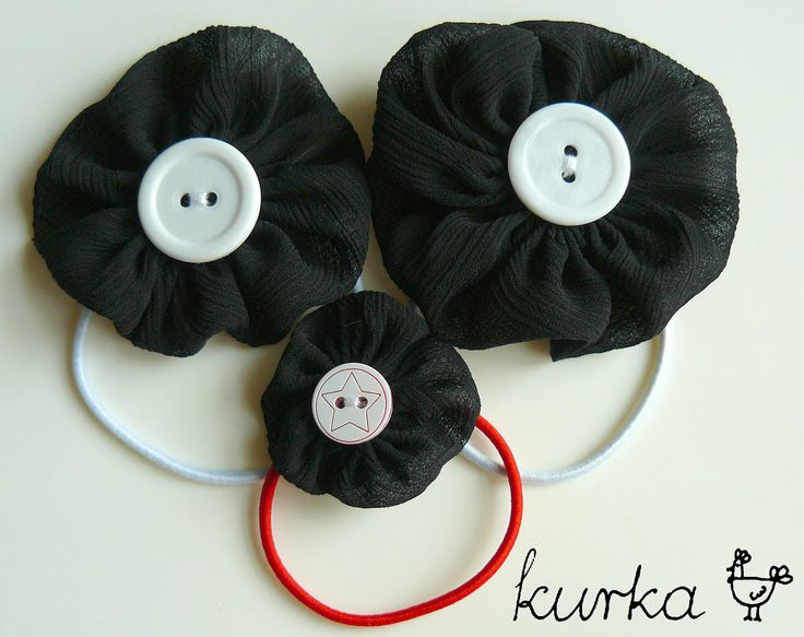 gumki handmade by kurka - czarny czerwony