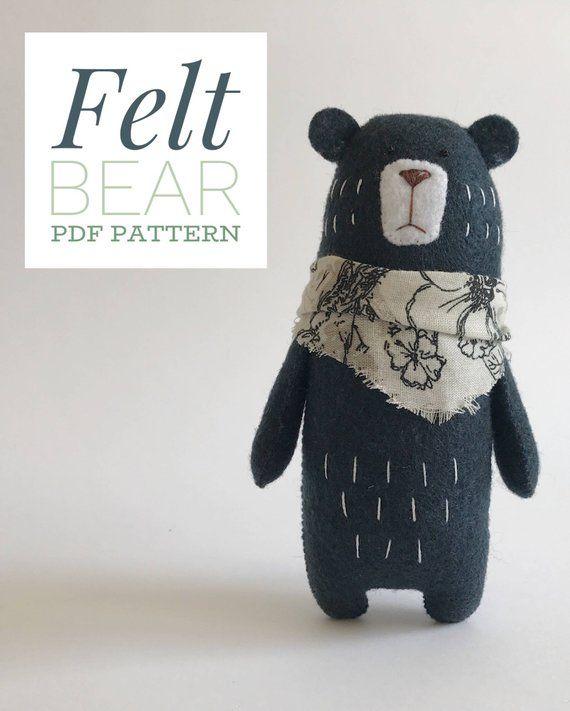 Bär nähen Muster, Teddybär Muster, PDF-Muster, Filztiere, Waldtiere, Kuscheltier Muster   – Nähen: Schnittmuster