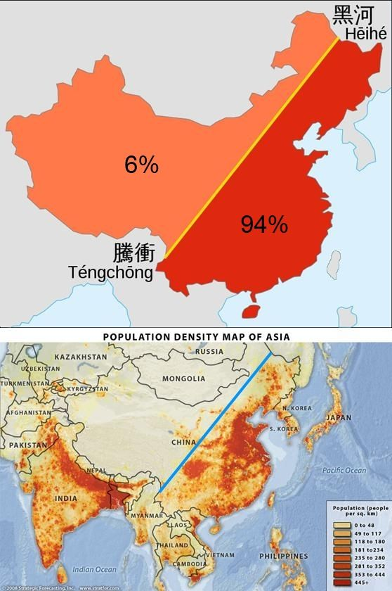 Map of population density in South and East Asia, and the Heihe-Tengchong line…