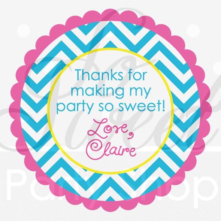24 Girls Birthday Favor Sticker Labels - Chevron Birthday Decorations with Polkadots - Teal, Pink, Yellow. $6.00, via Etsy.
