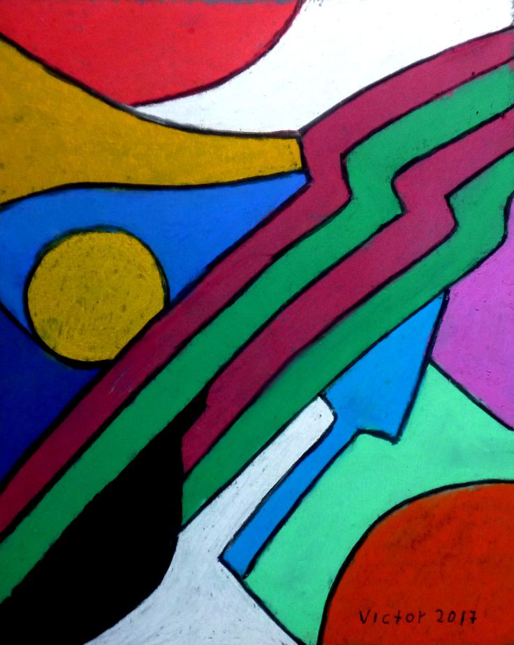 Abstrakt 517, pastell. Abstract 517, pastel.