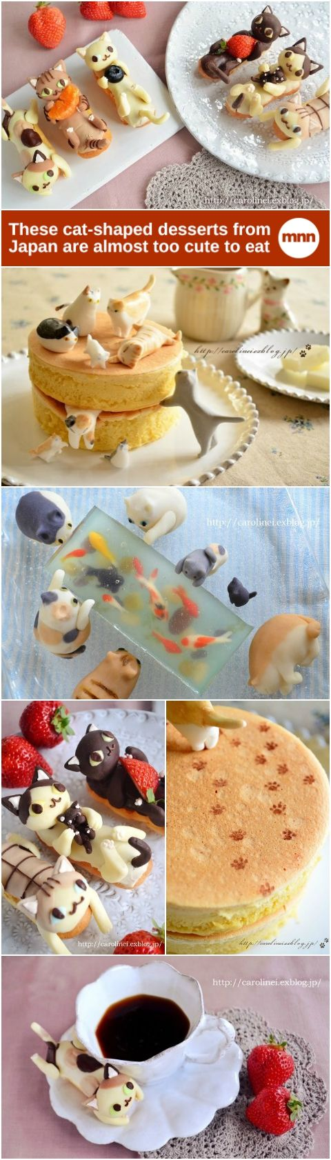 These sweet little dessert kitties are made by combining gyūhi (a softer version of mochi rice cake) with sweetened white bean paste to create a Japanese confectionery known as nerikiri.