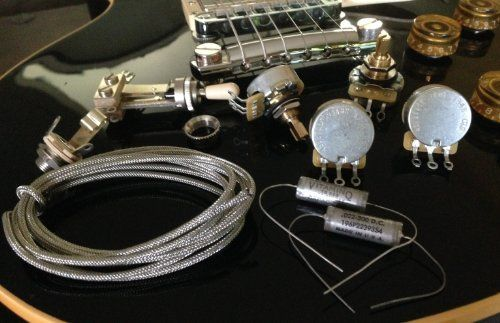 """The Best"" Short Shaft Wiring Kit for Gibson Les Paul® - CTS Vintage Taper Volume & Custom Spec. 525K Tone Pots, New Old Stock Sprague Vitamin Q Caps"