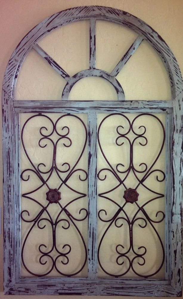 46 TALL SHABBY VINTAGE CHIC ARCHED WINDOW PANE WALL GRILL