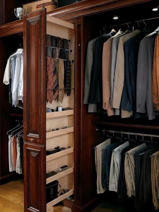 Men's Closet with Sliding Hidden Tie Rack.
