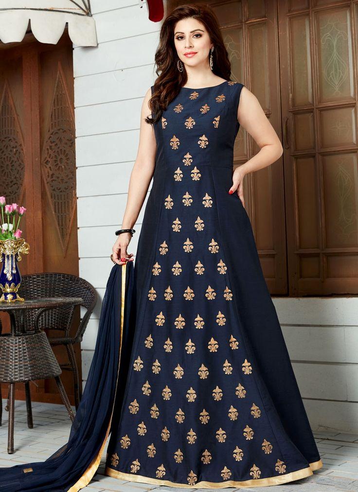 Tantalizing Art Silk Floor Length Anarkali Suit
