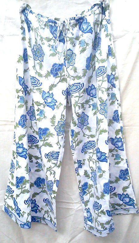 Boho chic Anokhi Lapis Blue Chinoiserie Floral Hand block print Indian cotton Palazzo pants