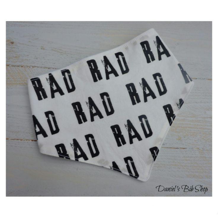 "handmade ""Rad"" baby bandana bib"