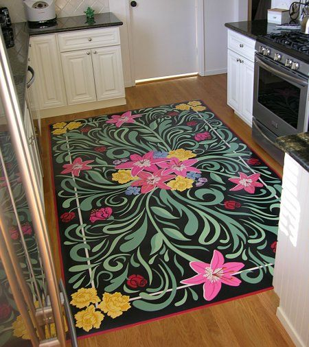 Hand painted vinyl floor mats... GORGEOUS!!!  See link for general tutorial.
