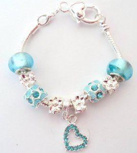 Blue Heart Children's Pandora/Troll Style Charm Bracelet - 18cm Length -  http:/