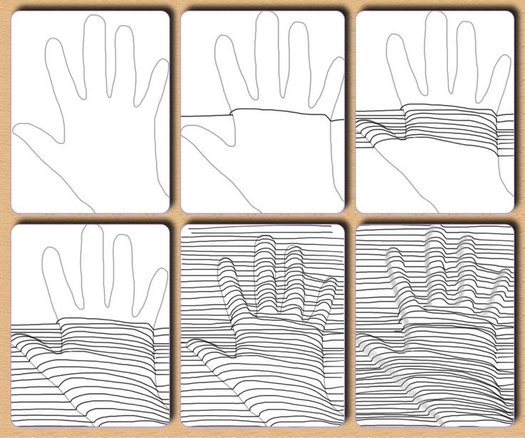 Fru Billedkunst - glimt fra min billedkunstundervisning: Op Art - 5.del: hånd under streger
