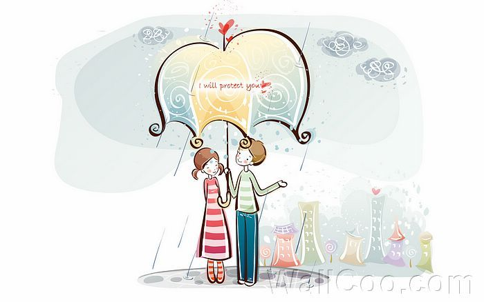 Young Love - Valentine Cute Couple illustrations  - I Will Protect You - Valentine Couple, Valentine's Day illustrations 12