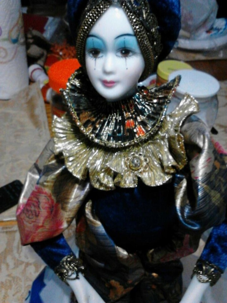 porcelain vintage pierrot doll | Doll , Puppets ...