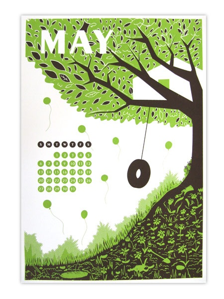 Welcome May! Here's this month's calendar print designed by Mike Ellis and screenprinted by the Kid Icarus Print Department for our 2012 Calendar.