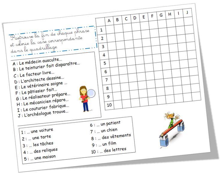 Les phrases quadrillées : idée sympa (mais fiche un peu difficiles pour mes élèves...)